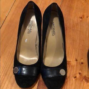 Michael Kors black suede chunky heels size 6.5